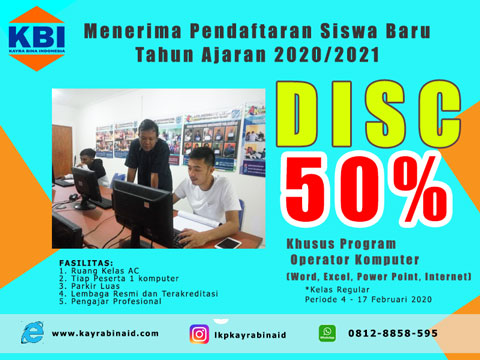 Kursus Komputer & Bahasa Inggris|Promo Discount 50%