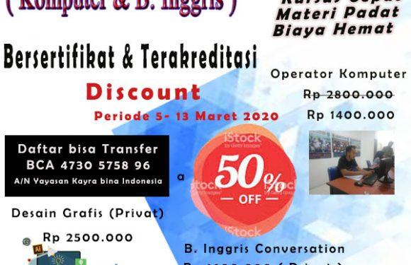 Kursus Komputer Discount 50%  Program Operator Komputer  KBI. Tangerang Selatan.