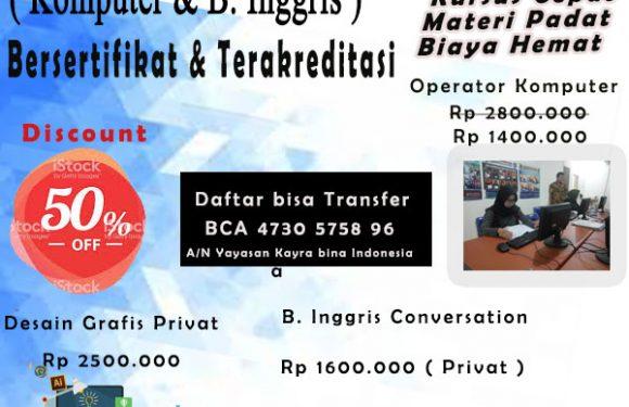 Kursus dan Pelatihan Kerja  Serua Ciputat Tangerang Selatan.